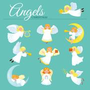 Christmas holiday set of flying angel with wings and gifts box or stars,  m.. Stock Illustration