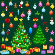 Holiday christmas tree isolated decoration for celebrate xmass with ball go.. Stock Illustration