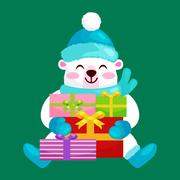 Cute Christmas bears during the winter holidays and the New Year s Eve sitt.. Piirros