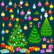 Holiday christmas tree isolated decoration for celebrate xmass with ball go.. Piirros