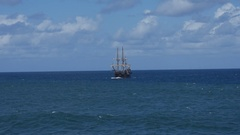 Pirate ship Galeon Andalucia at sea. 3 of 3 Stock Footage