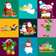 Santa Claus sack full of gifts,angel wings magic wand star, snowman candy, .. Stock Illustration