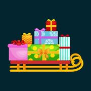 Christmas gifts in stack box on sled, winter holiday xmas present decorated.. Stock Illustration