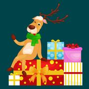 Christmas deer with banner isolated, happy winter xmas holiday animal greet.. Stock Illustration