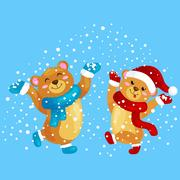 Cute Christmas bears during the winter holidays and the New Year s Eve jump.. Piirros