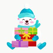 Cute Christmas bears during the winter holidays and the New Year s Eve sitt.. Stock Illustration