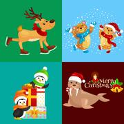 Illustration set animals winter holiday North Pole penguins with presents a.. Stock Illustration