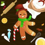Process of preparing Christmas treats and sweets on a wooden kitchen table... Stock Illustration