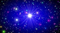 Blue Vignette Multicolored Stars Endless Flight Motion Background Loop Roll Stock Footage