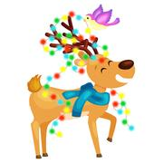 Happy smiling reindeer on the eve of New Year and Christmas lights in the h.. Stock Illustration