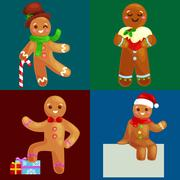 Set christmas cookies gingerbread man decorated with icing dancing and havi.. Stock Illustration