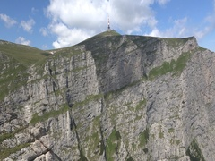 TV relay on Costila. The highest artificial point in  Romania 4k UHD tilt up Stock Footage