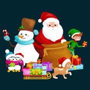 Santa Claus sack full of gifts, snowman candy, decoration ribbons pet dog i.. Stock Illustration