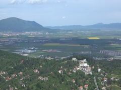 Aerial  panoramic view of Brasov city Romaniafrom Tampa in springtime 4k UHD Stock Footage