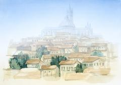 Tuscany watercolor painting Stock Illustration