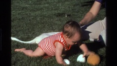 1977: baby crawling around on the grass playing with toys while being tickled  Stock Footage