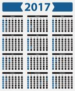 USA calendar 2017 - with official holidays Stock Illustration