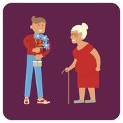 Volunteer man and old woman Piirros