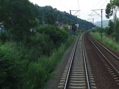 Point of view  train passing through countryside hypnotic moving railroad Stock Footage