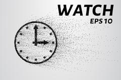 Watch from particles. Watch consists of circles and points. Vector illustrati Stock Illustration