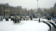 Kyiv, Ukraine - November 23, 2014:  Maidan Nezalezhnosti in Kiev. Stock Footage