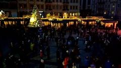 KYIV, UKRAINE - December 27, 2015: Sofievska square with Christmas scenery. Stock Footage