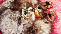 Several perfume in the silver fur Stock Footage