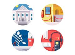 Museum of icons set Stock Illustration