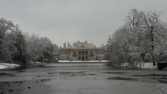Lazienki Palace in winter Stock Footage