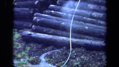 1971: log deck being watered MAINE Stock Footage