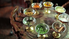 Indian spices at the wooden table Stock Footage