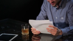 Young man is drunk in restaurant from disappointed Stock Footage