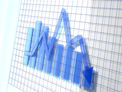 Blue Business Arrow Animated Downward Graph 4K Stock Footage
