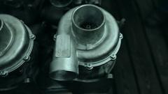 Turbocharger detail, turbine housing Stock Footage