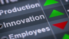 """Innovation"" on the screen. Up. Looping. Stock Footage"