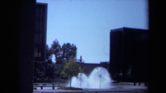 1969: archived footage of a business square fountain CALIFORNIA Stock Footage
