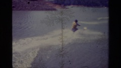 1977: the man in water skating LAKE ELSINORE CALIFORNIA Stock Footage