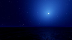 Sea and Moon. Night Sky with Flashing Stars. HD Stock Footage