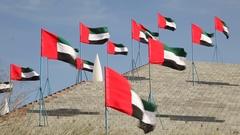 United Arab Emirates Flags Stock Footage