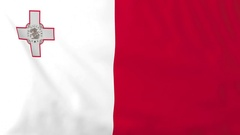 Flag of Malta waving in the wind, seemless loop animation Stock Footage
