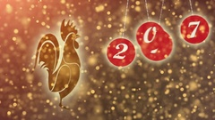 Happy New Year 2017 background with gold shiny rooster silhouette. Stock Footage