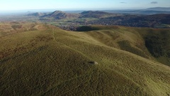 Aerial view over the Shropshire Hills. Stock Footage
