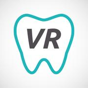 Isolated tooth with    the virtual reality acronym VR Stock Illustration