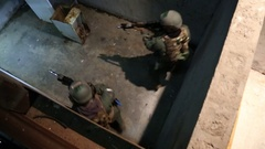 High Angle View of SWAT Trainees Clearing a Room Stock Footage