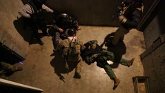 SWAT Trainees Train in Removal of Wounded Member Stock Footage