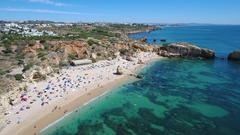 Aerial. Video shooting drone over the beach Sao Rafael. Albufeira Portugal Stock Footage