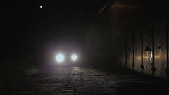 Police Car Patrolling the City At Night. Stock Footage