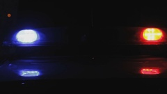 Police Car Emergency Lights at Night Stock Footage