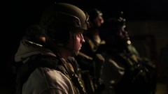 POV of LIne of Helmeted SWAT Trainees at Training Exercise Stock Footage