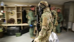 SWAT Trainees Return to Tack Room from Exercise Stock Footage